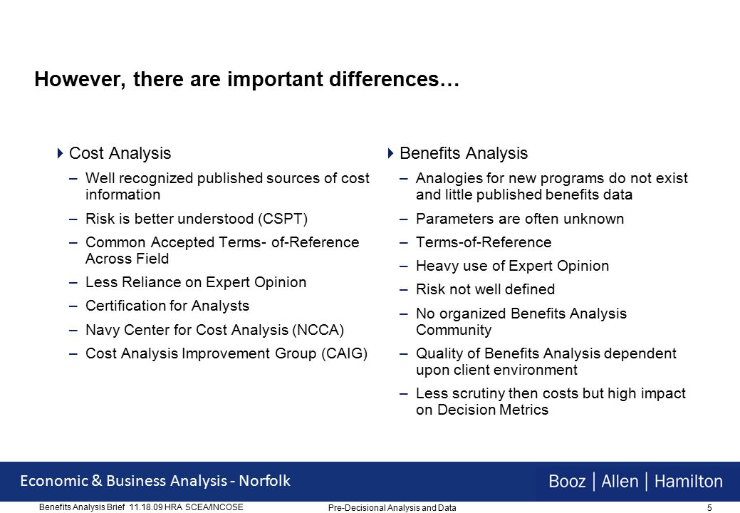 6 Economic & Business Analysis - Norfolk Benefits Analysis Brief 11.18.09 HRA SCEA/INCOSE Agenda  Introduction  Similarities/Differences in Benefits Analysis Approach vs.