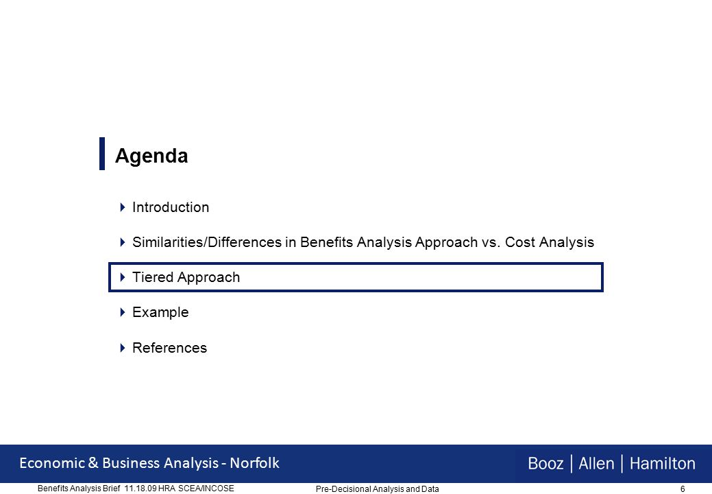 6 Economic & Business Analysis - Norfolk Benefits Analysis Brief 11.18.09 HRA SCEA/INCOSE Agenda  Introduction  Similarities/Differences in Benefits Analysis Approach vs.