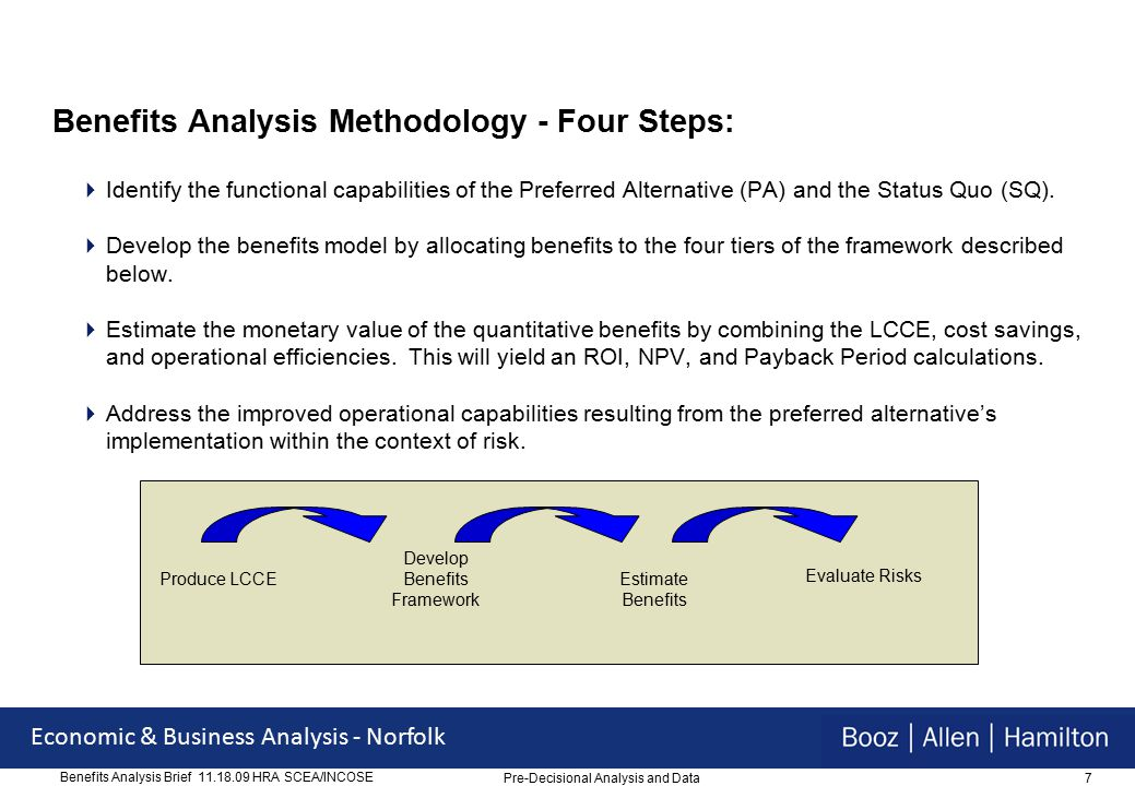38 Economic & Business Analysis - Norfolk Benefits Analysis Brief 11.18.09 HRA SCEA/INCOSE Readiness and Compliance  Readiness –Improved visibility of assets throughout enterprise including warranty status, and serial number tracking of secondary repairables and end items –Inventory posture and readiness is visible throughout enterprise allowing for improved resource allocation and optimal stockage at wholesale, retail and consumer level –Establishes automation of maintenance history including major sub-component (SL-4) configuration of end items  Compliance –Enables USMC to comply with Joint Financial Management Improvement Program requirements –Enables USMC to comply with SFIS requirements –Enables USMC to comply with IUID requirements Pre-Decisional Analysis and Data