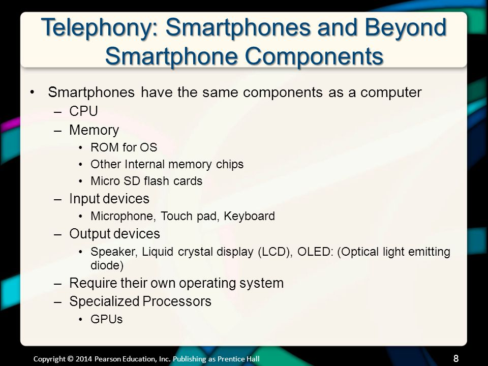 Telephony: Smartphones and Beyond Smartphone Components (cont.) Phone data is stored in separate Many smartphones let you add additional memory –iPhones don't let you add memory Copyright © 2014 Pearson Education, Inc.