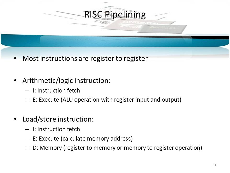 RISC Pipelining Most instructions are register to register Arithmetic/logic instruction: – I: Instruction fetch – E: Execute (ALU operation with regis