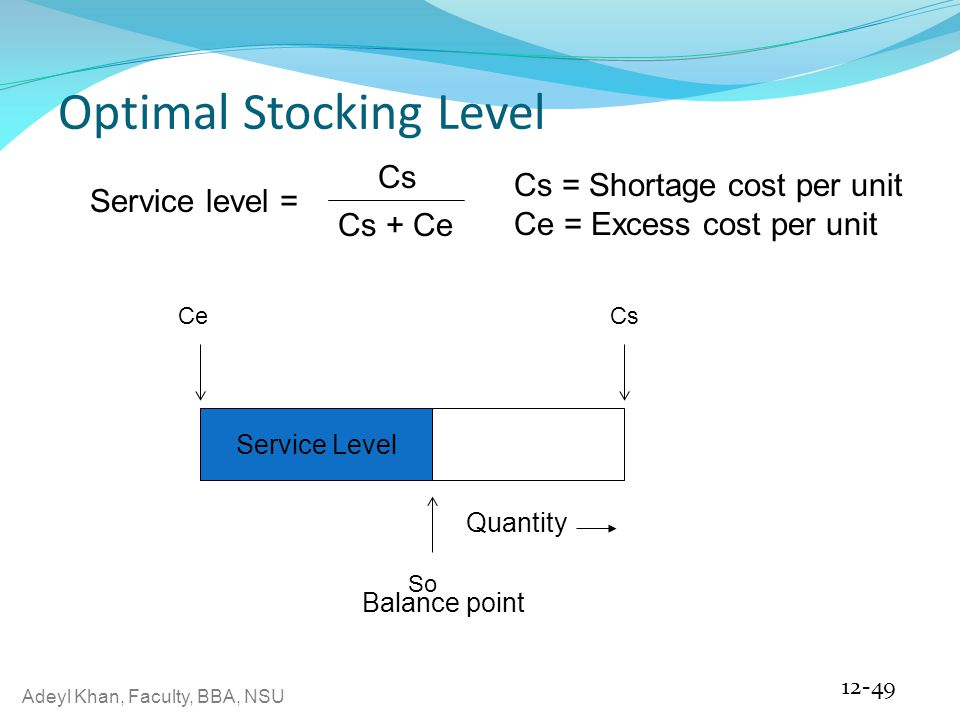 Adeyl Khan, Faculty, BBA, NSU Optimal Stocking Level 12-49 Service Level So Quantity CeCs Balance point Service level = Cs Cs + Ce Cs = Shortage cost per unit Ce = Excess cost per unit