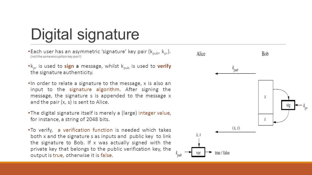 Digital signature Each user has an asymmetric 'signature' key pair (k pub, k pr ). (not the same encryption key pair!) k pr is used to sign a message,