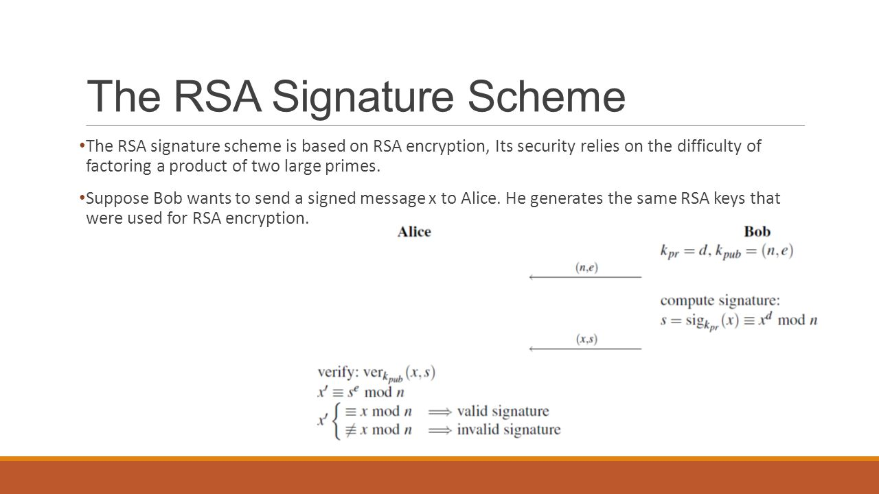 The RSA Signature Scheme The RSA signature scheme is based on RSA encryption, Its security relies on the difficulty of factoring a product of two large primes.