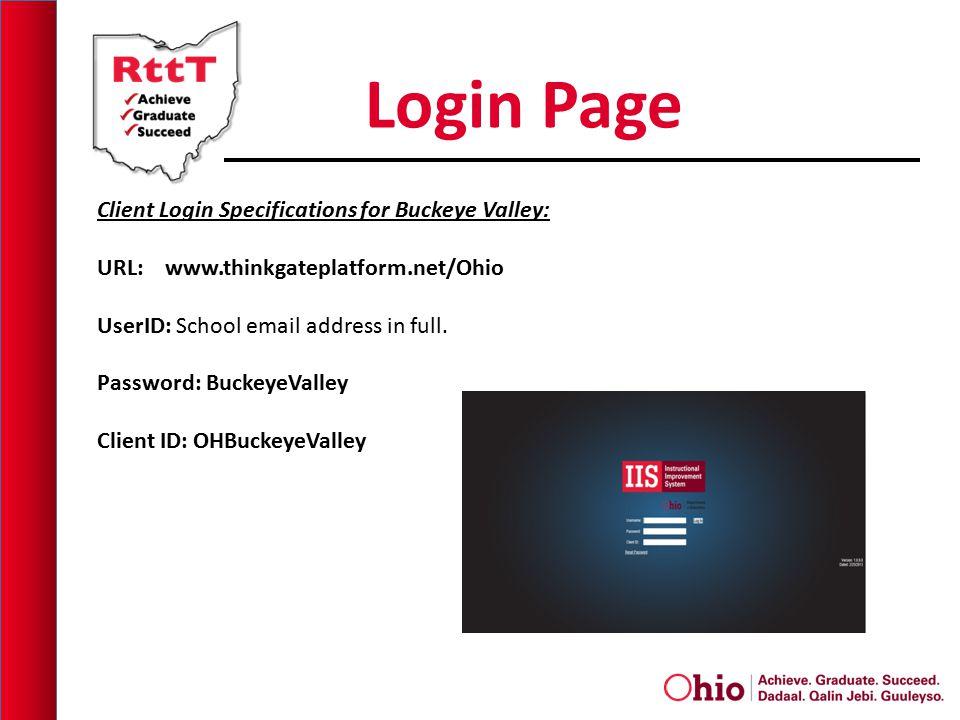 Login Page Client Login Specifications for Buckeye Valley: URL: www.thinkgateplatform.net/Ohio UserID: School email address in full.
