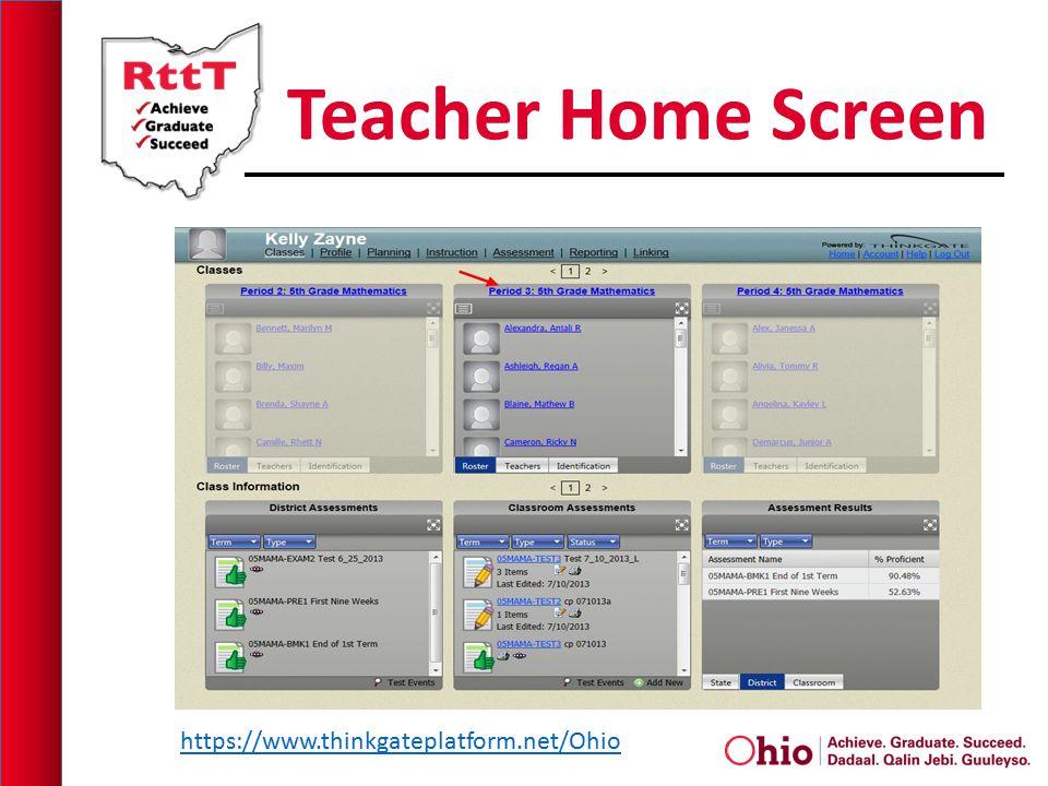 Teacher Home Screen https://www.thinkgateplatform.net/Ohio