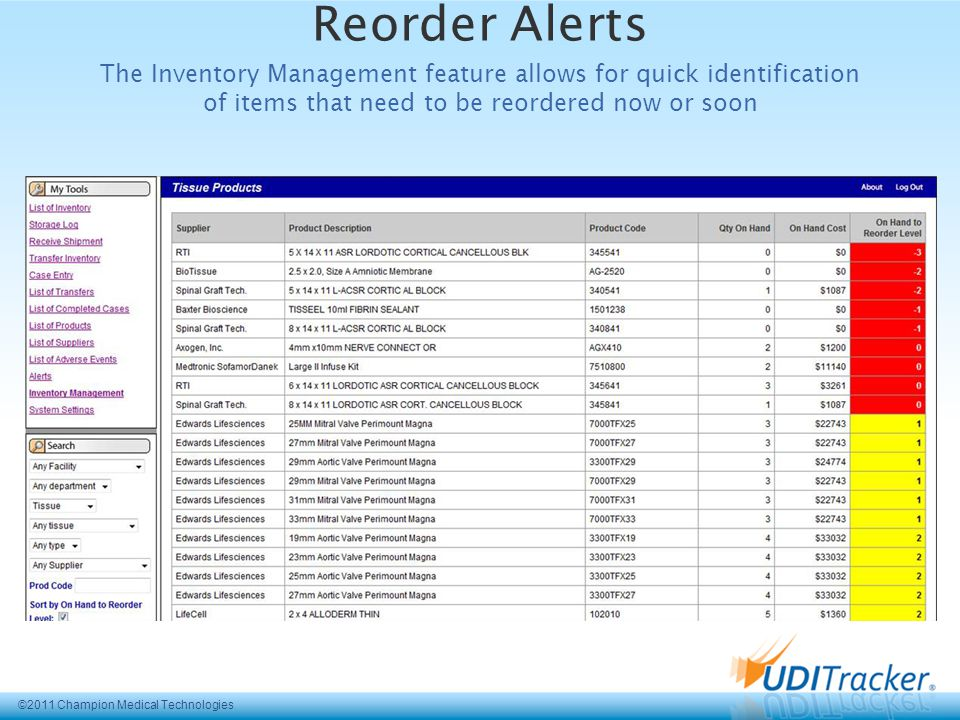 ©2011 Champion Medical Technologies Reorder Alerts The Inventory Management feature allows for quick identification of items that need to be reordered now or soon