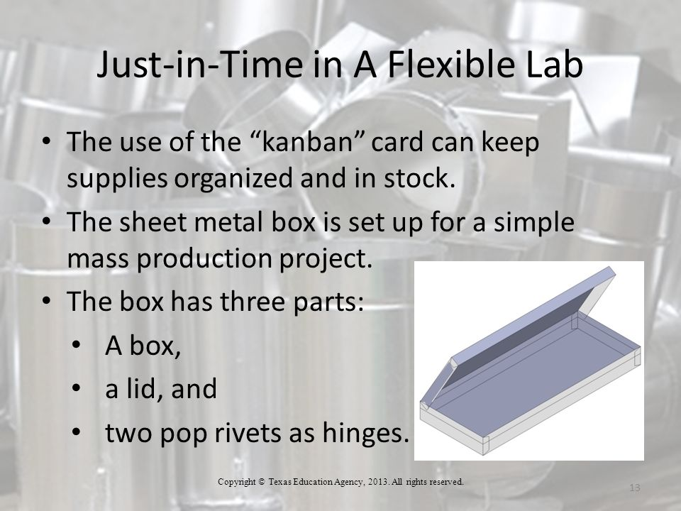 Just-in-Time in A Flexible Lab 13 The use of the kanban card can keep supplies organized and in stock.