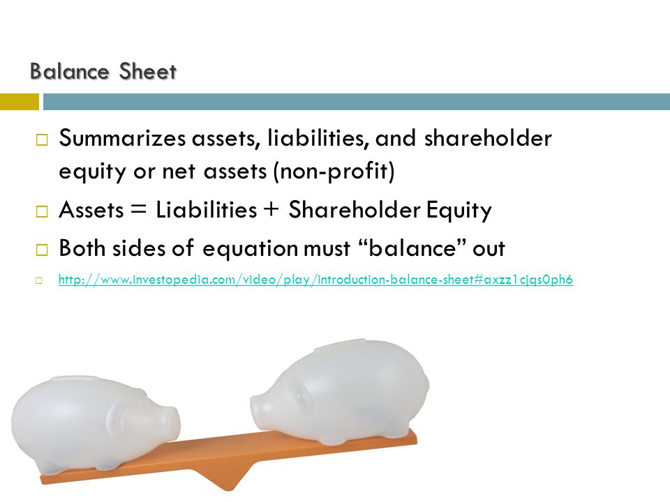 Balance Sheet  Summarizes assets, liabilities, and shareholder equity or net assets (non-profit)  Assets = Liabilities + Shareholder Equity  Both sides of equation must balance out  http://www.investopedia.com/video/play/introduction-balance-sheet#axzz1cjqs0ph6 http://www.investopedia.com/video/play/introduction-balance-sheet#axzz1cjqs0ph6