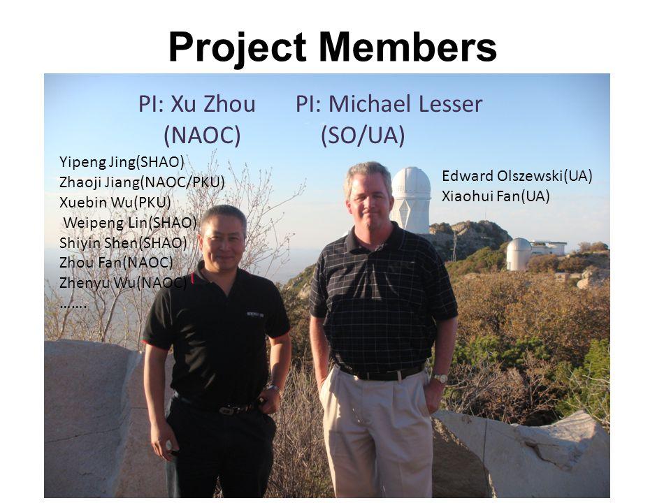 Project Members PI: Xu Zhou (NAOC) PI: Michael Lesser (SO/UA) Edward Olszewski(UA) Xiaohui Fan(UA) Yipeng Jing(SHAO) Zhaoji Jiang(NAOC/PKU) Xuebin Wu(PKU) Weipeng Lin(SHAO) Shiyin Shen(SHAO) Zhou Fan(NAOC) Zhenyu Wu(NAOC) …….