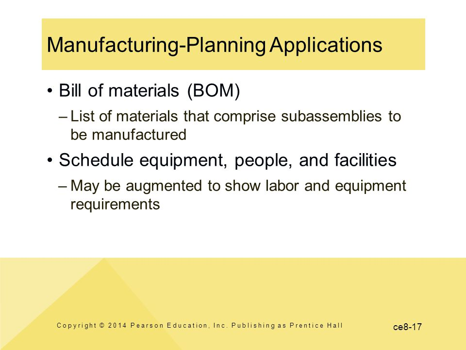 ce8-17 Manufacturing-Planning Applications Copyright © 2014 Pearson Education, Inc. Publishing as Prentice Hall Bill of materials (BOM) –List of mater