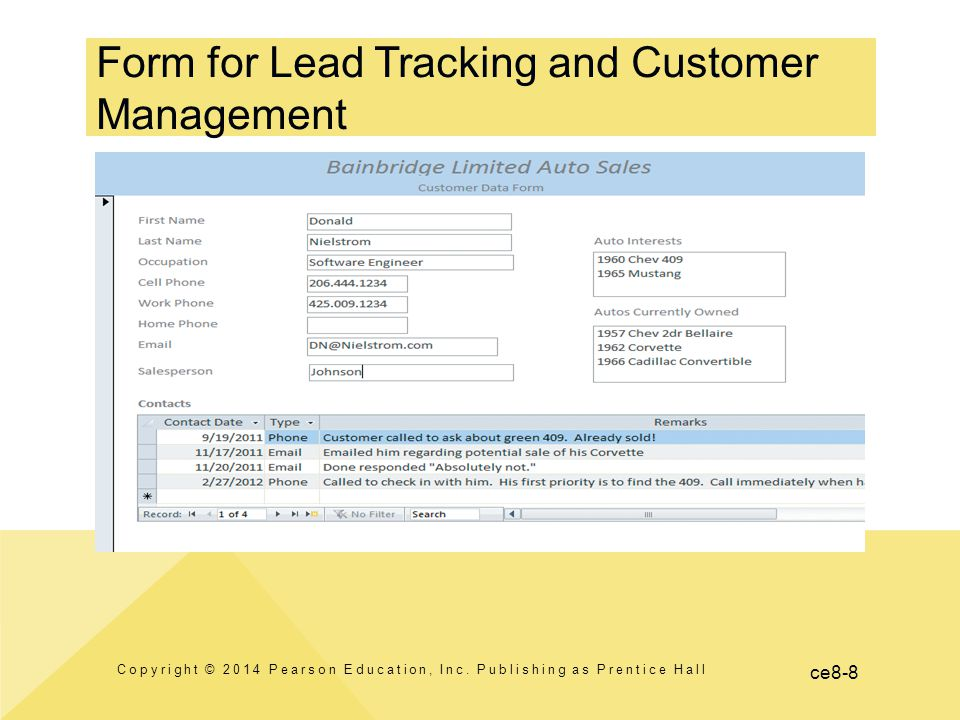 ce8-8 Form for Lead Tracking and Customer Management Copyright © 2014 Pearson Education, Inc. Publishing as Prentice Hall