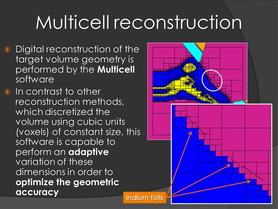 Multicell reconstruction  Digital reconstruction of the target volume geometry is performed by the Multicell software  In contrast to other reconstruction methods, which discretized the volume using cubic units (voxels) of constant size, this software is capable to perform an adaptive variation of these dimensions in order to optimize the geometric accuracy Indium foils