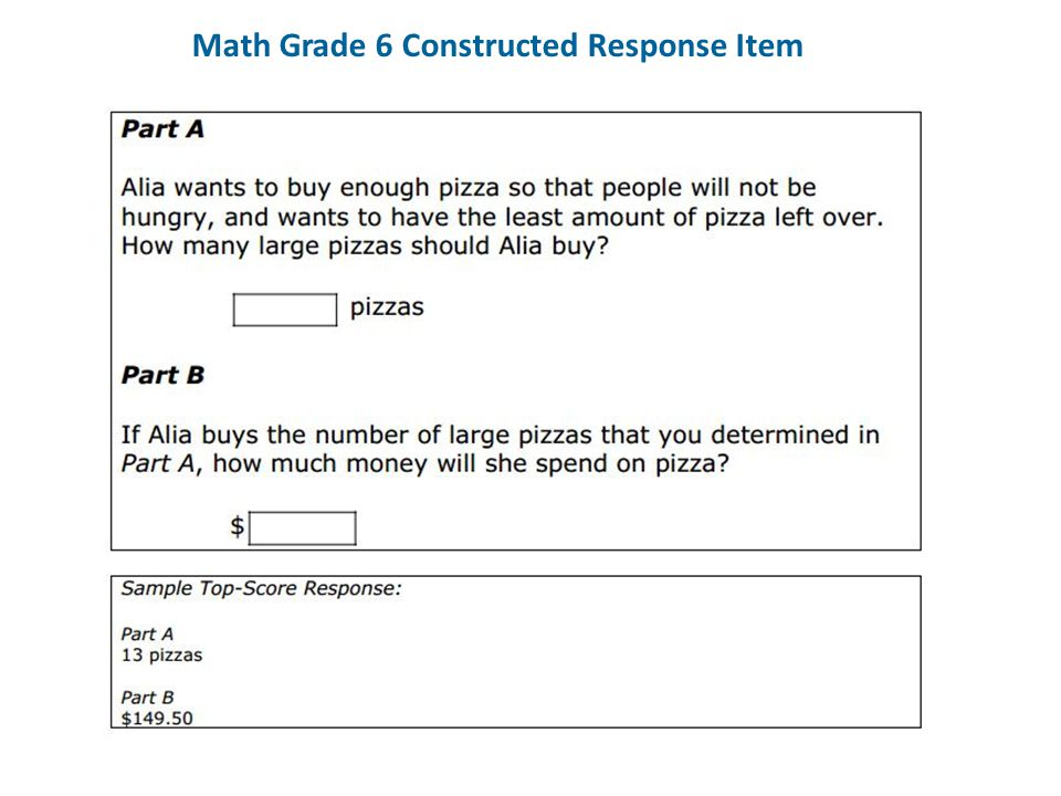 Math Grade 6 Constructed Response Item