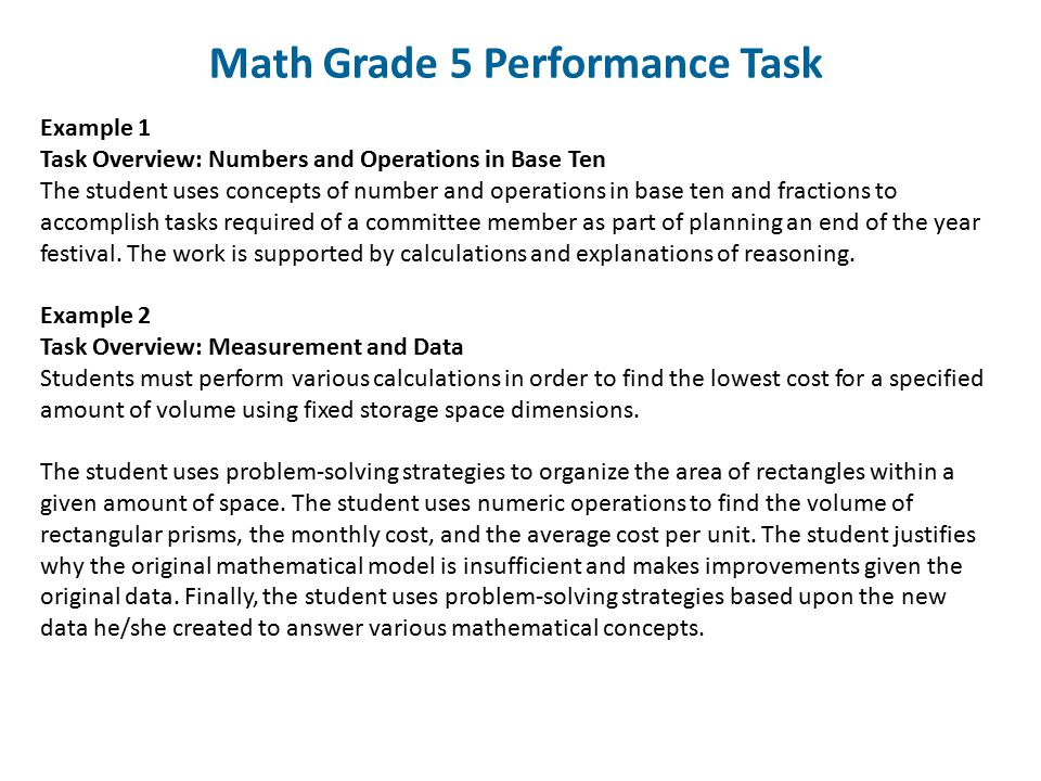 Math Grade 5 Performance Task Example 1 Task Overview: Numbers and Operations in Base Ten The student uses concepts of number and operations in base t