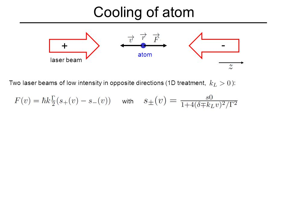 Cooling of atom Two laser beams of low intensity in opposite directions (1D treatment, ): laser beam atom with - +