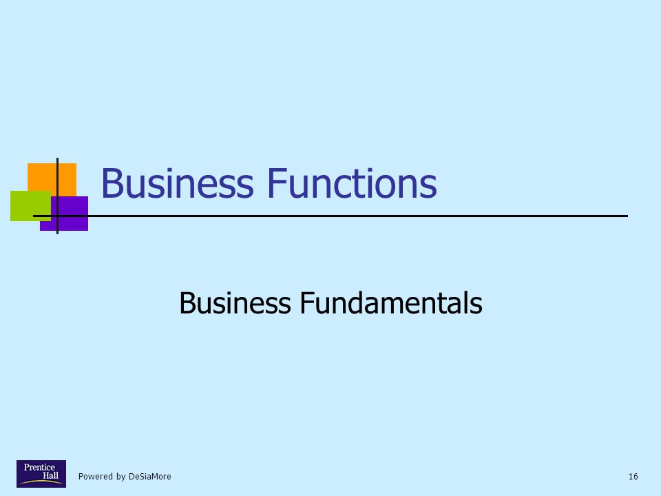 Powered by DeSiaMore16 Business Functions Business Fundamentals