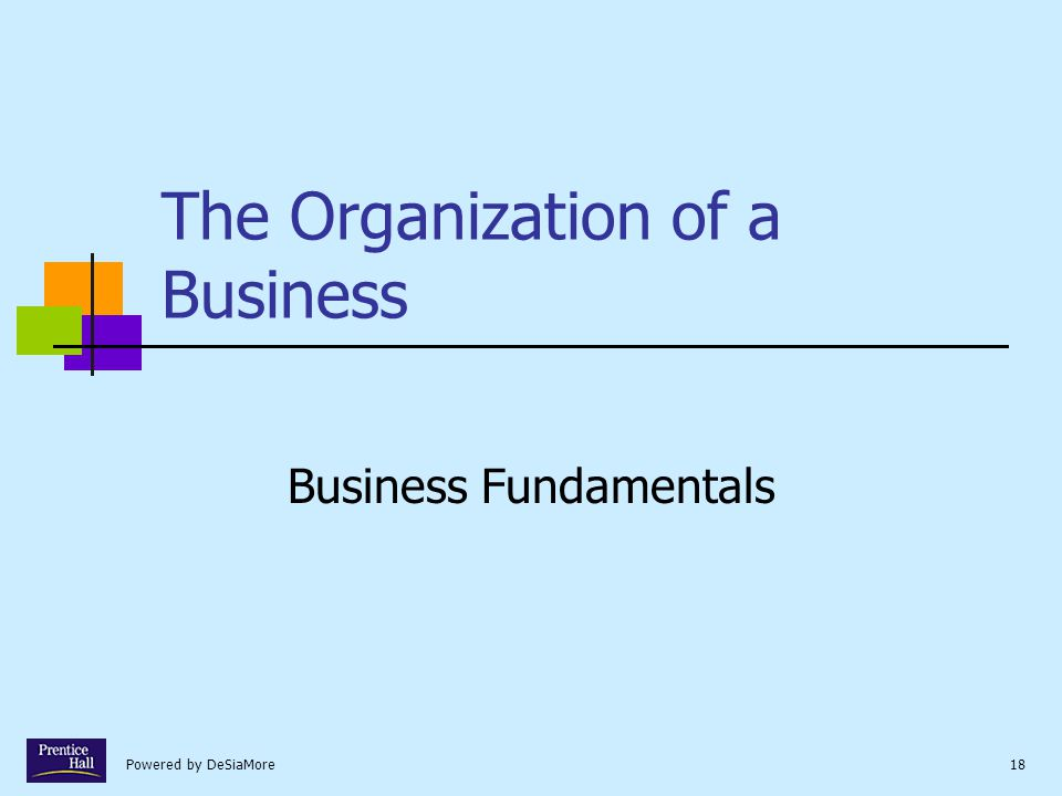 Powered by DeSiaMore18 The Organization of a Business Business Fundamentals