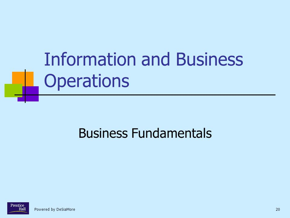 Powered by DeSiaMore20 Information and Business Operations Business Fundamentals