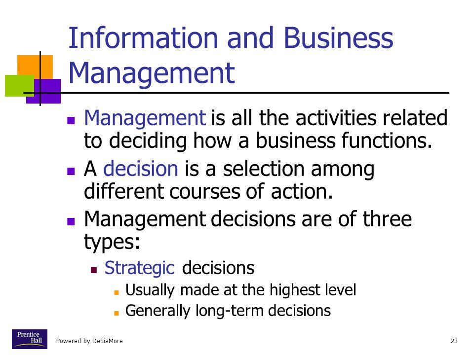 Powered by DeSiaMore23 Information and Business Management Management is all the activities related to deciding how a business functions.