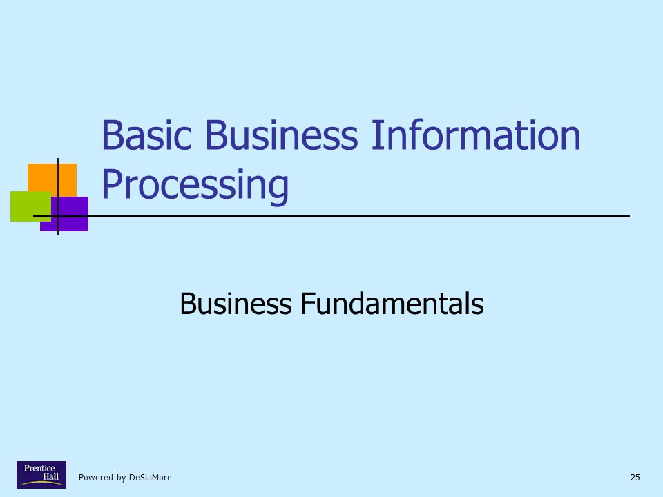 Powered by DeSiaMore25 Basic Business Information Processing Business Fundamentals