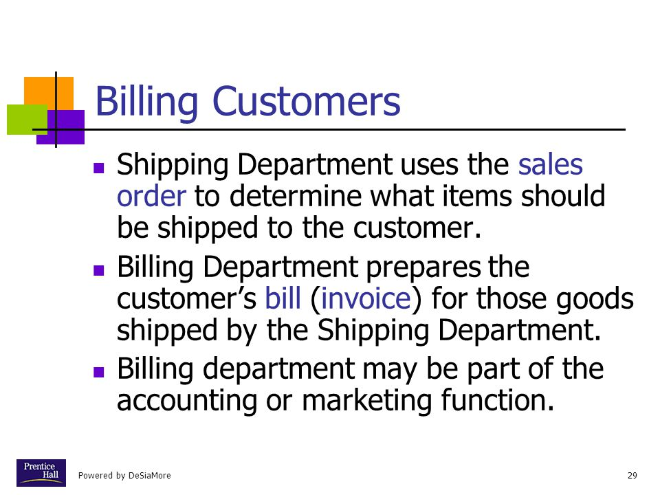 Powered by DeSiaMore29 Billing Customers Shipping Department uses the sales order to determine what items should be shipped to the customer.