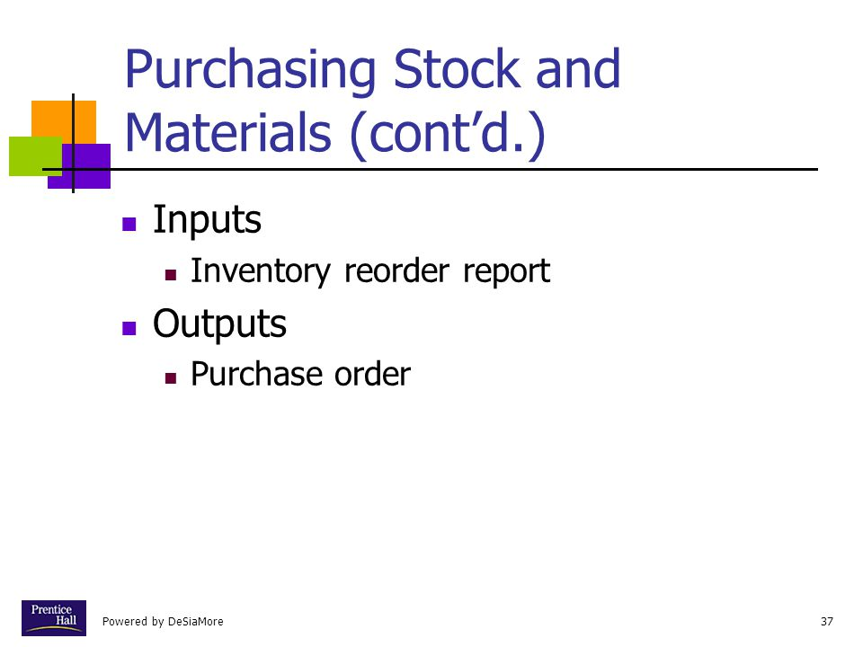 Powered by DeSiaMore37 Purchasing Stock and Materials (cont'd.) Inputs Inventory reorder report Outputs Purchase order