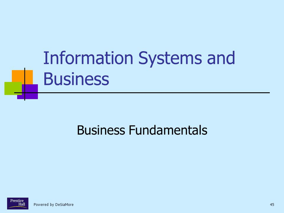 Powered by DeSiaMore45 Information Systems and Business Business Fundamentals