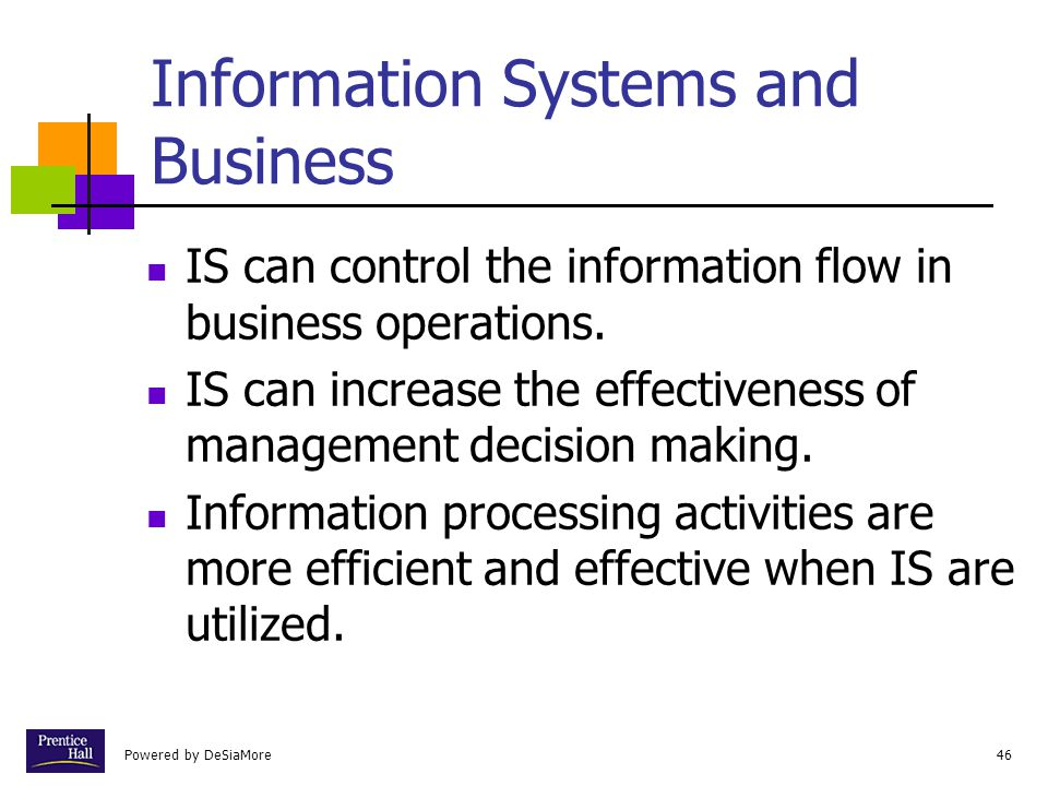 Powered by DeSiaMore46 Information Systems and Business IS can control the information flow in business operations.