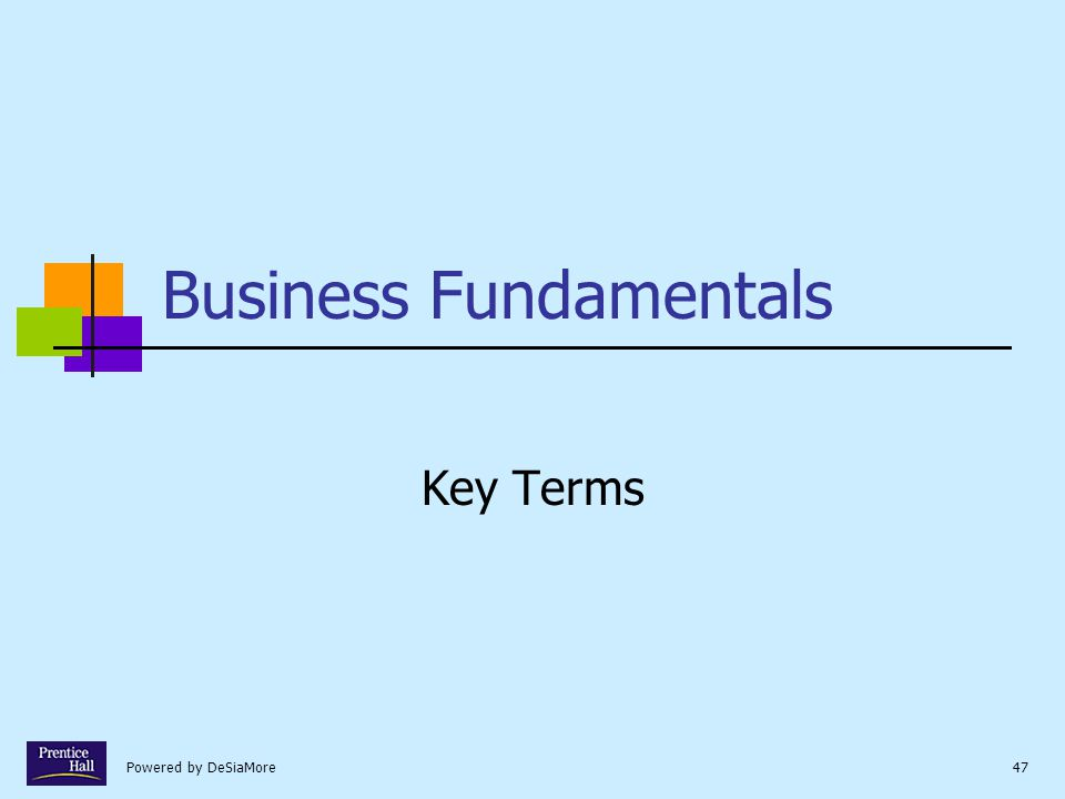 Powered by DeSiaMore47 Business Fundamentals Key Terms