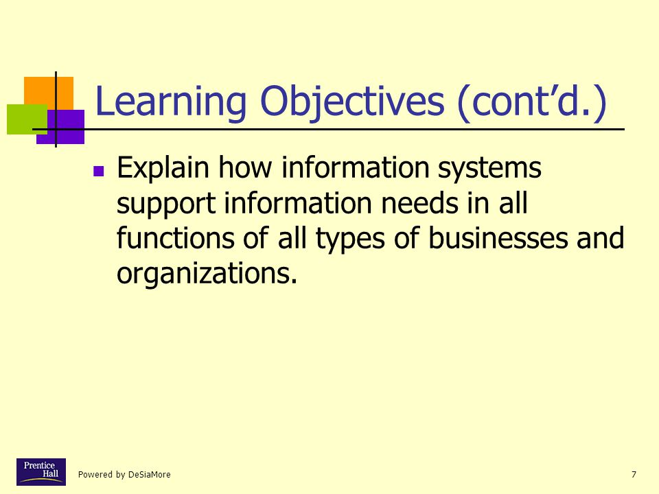 Powered by DeSiaMore7 Learning Objectives (cont'd.) Explain how information systems support information needs in all functions of all types of businesses and organizations.