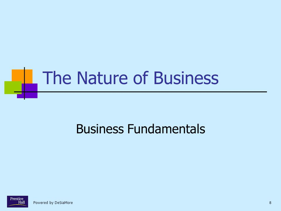 Powered by DeSiaMore8 The Nature of Business Business Fundamentals