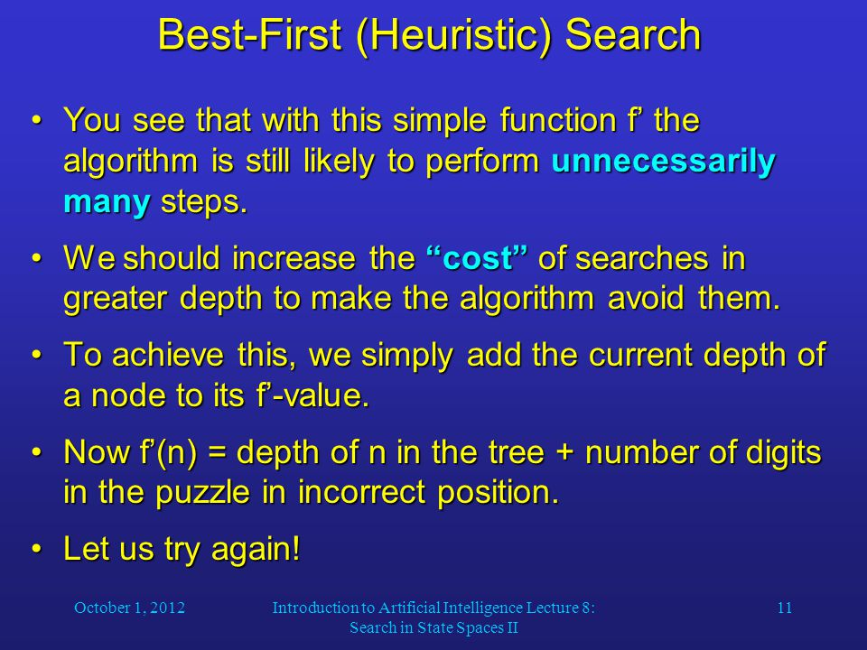 October 1, 2012Introduction to Artificial Intelligence Lecture 8: Search in State Spaces II 11 Best-First (Heuristic) Search You see that with this si
