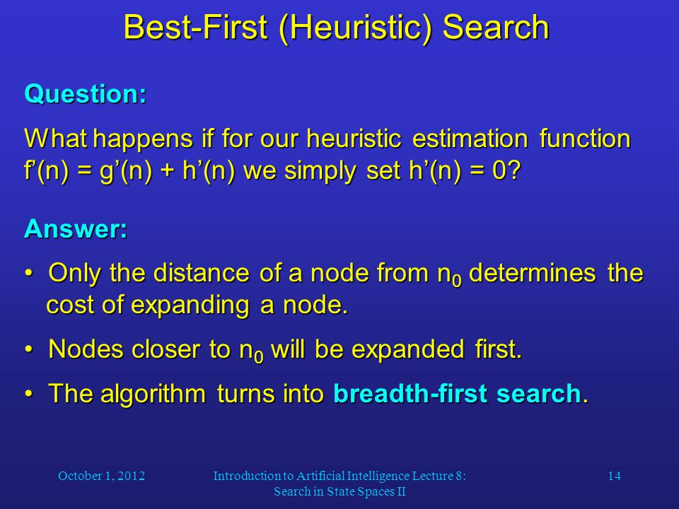 October 1, 2012Introduction to Artificial Intelligence Lecture 8: Search in State Spaces II 14 Best-First (Heuristic) Search Question: What happens if