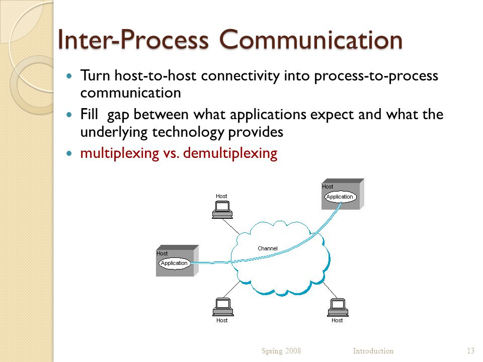 Inter-Process Communication Turn host-to-host connectivity into process-to-process communication Fill gap between what applications expect and what the underlying technology provides multiplexing vs.