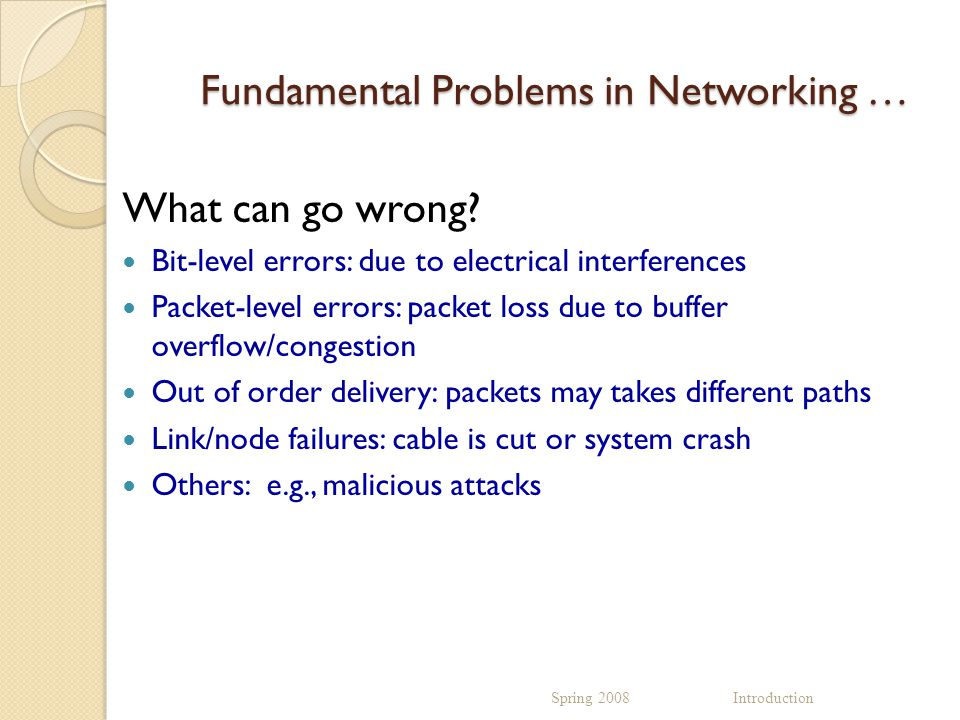 Fundamental Problems in Networking … What can go wrong.