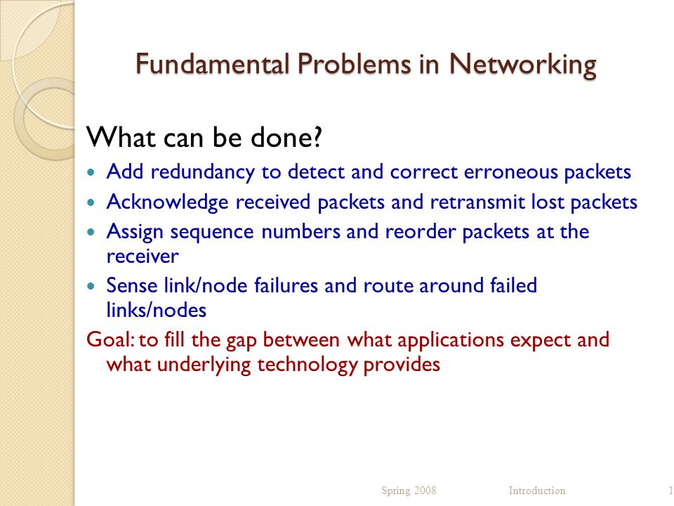Fundamental Problems in Networking What can be done.
