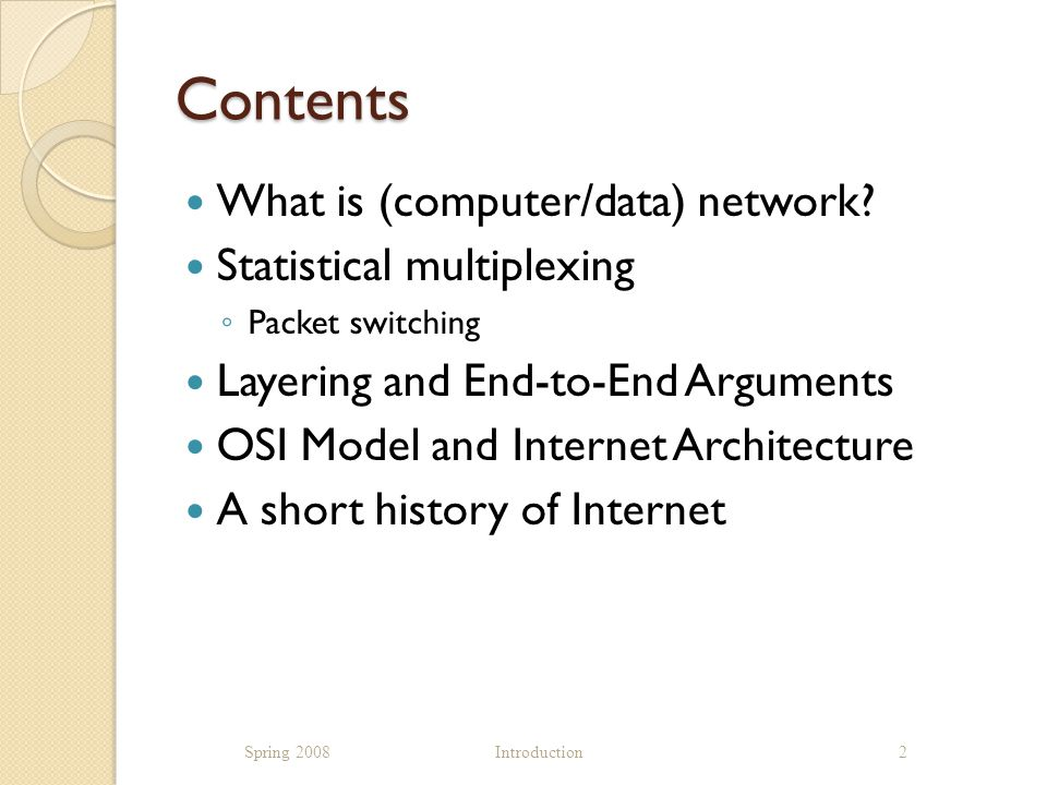 ISO OSI Network Architecture Spring 2008 Introduction23