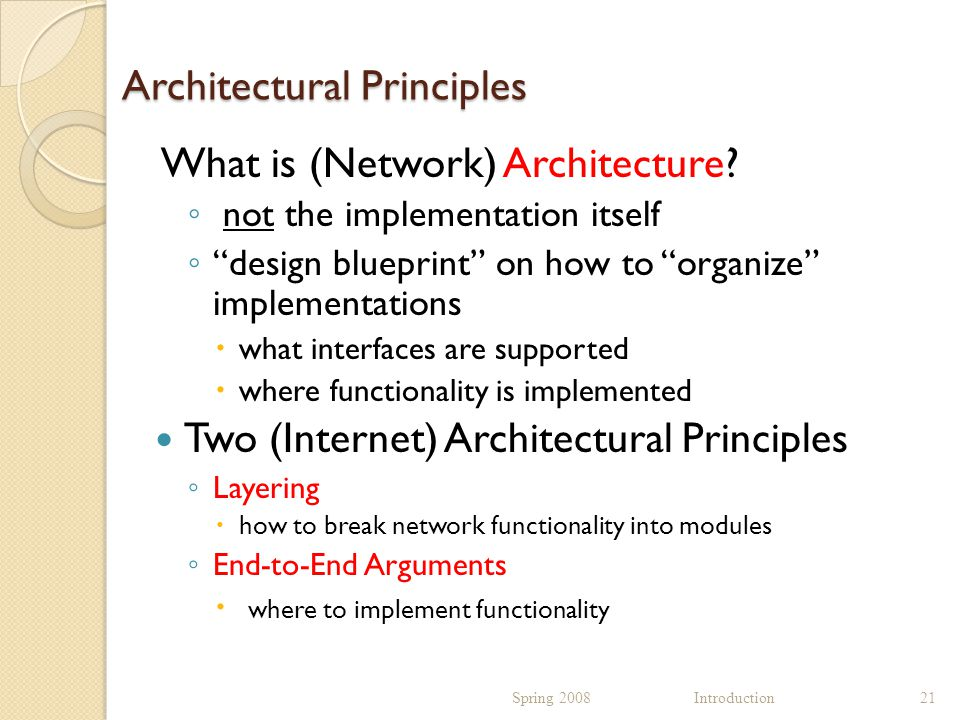 Architectural Principles What is (Network) Architecture.