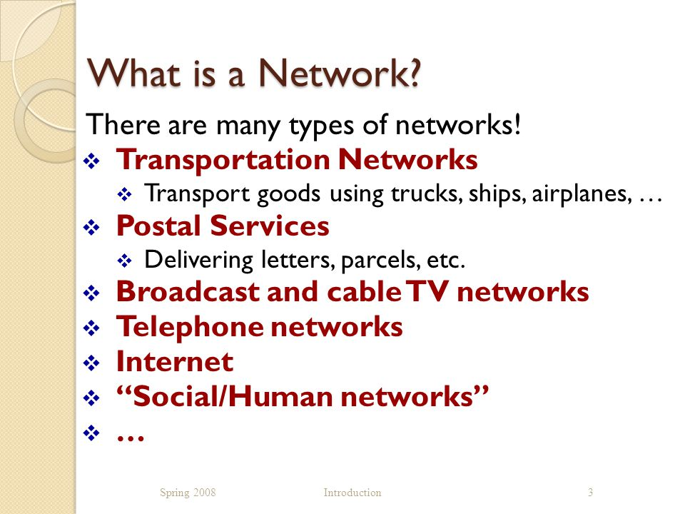 What is a Network. There are many types of networks.