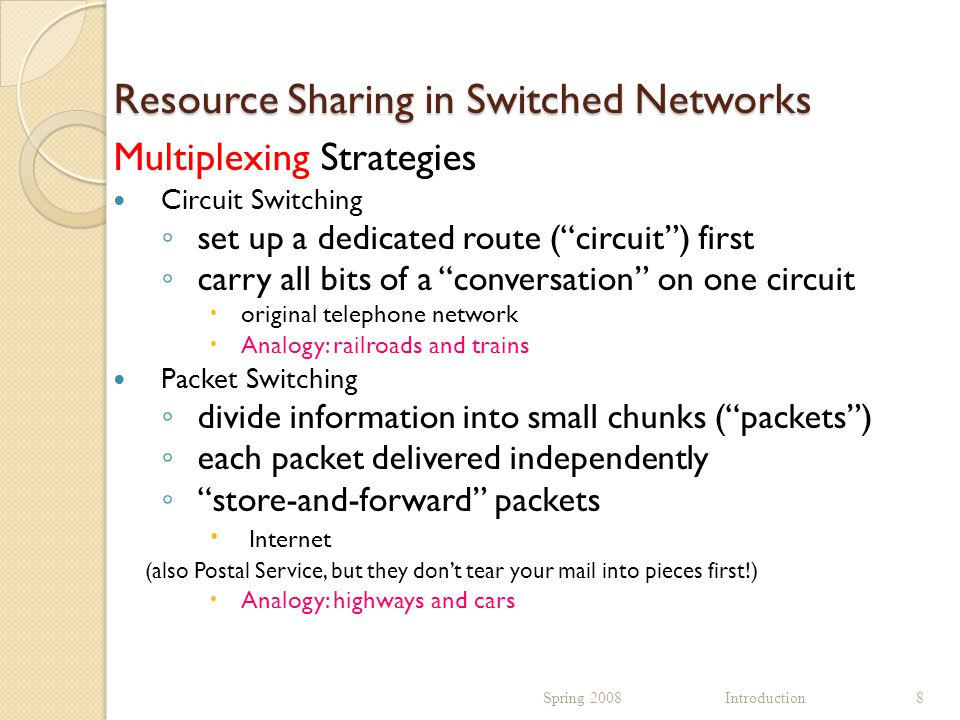 Resource Sharing in Switched Networks Multiplexing Strategies Circuit Switching ◦ set up a dedicated route ( circuit ) first ◦ carry all bits of a conversation on one circuit  original telephone network  Analogy: railroads and trains Packet Switching ◦ divide information into small chunks ( packets ) ◦ each packet delivered independently ◦ store-and-forward packets  Internet (also Postal Service, but they don't tear your mail into pieces first!)  Analogy: highways and cars Spring 2008 Introduction8