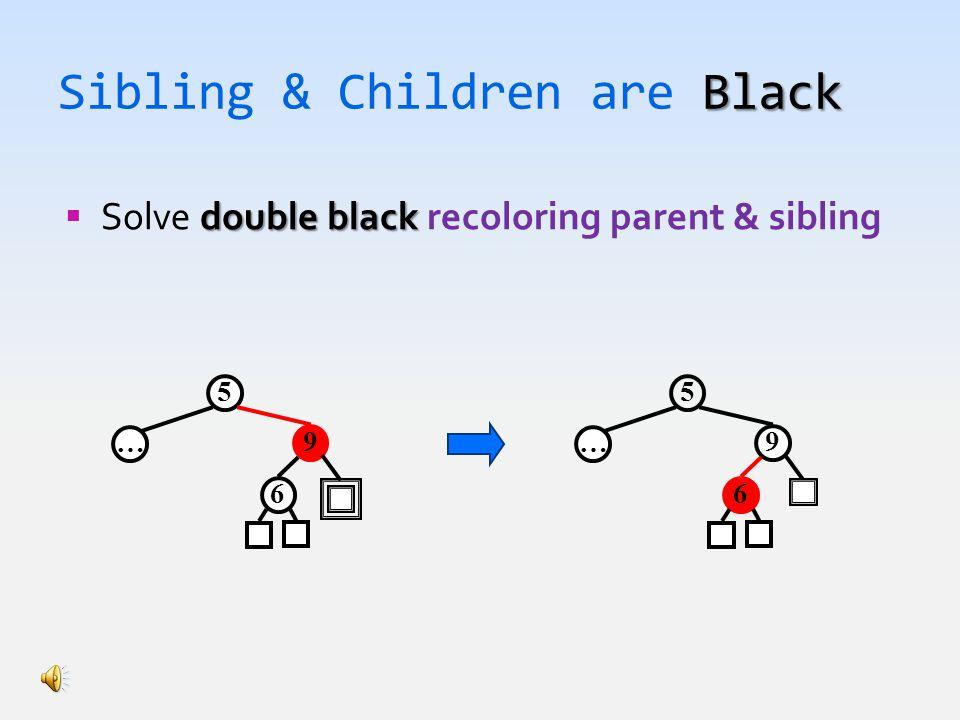 Black Sibling & Children are Black double black  Solve double black recoloring parent & sibling 5 9 6 … 5 9 6 …