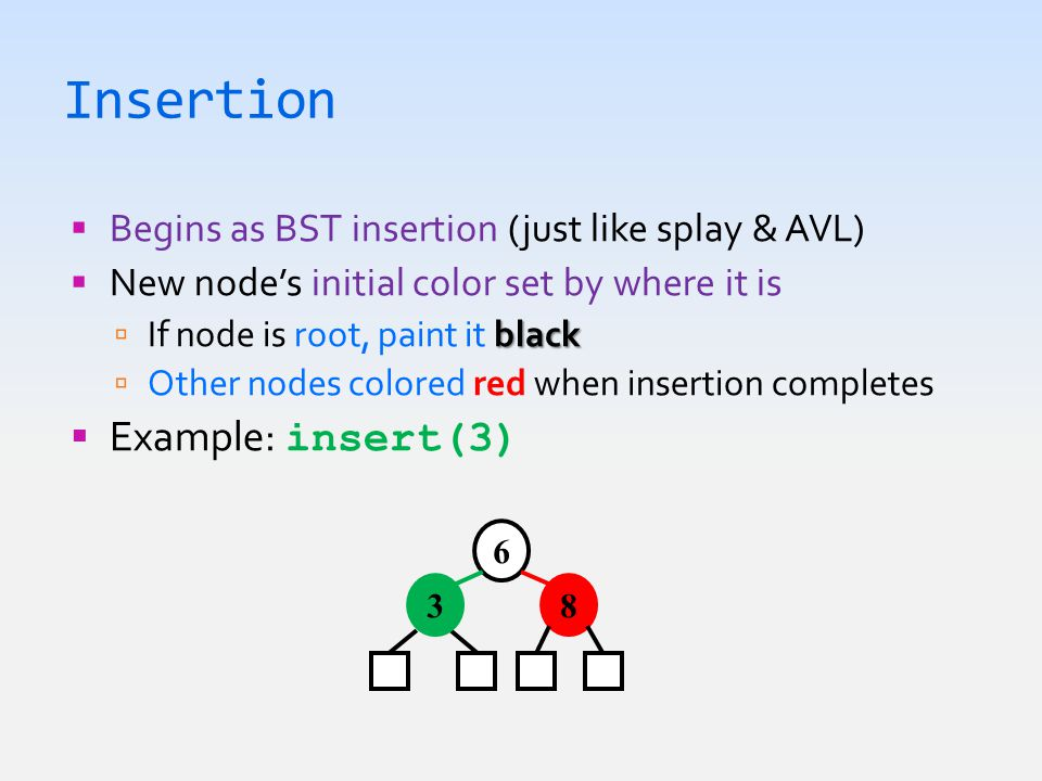 Insertion  Begins as BST insertion (just like splay & AVL)  New node's initial color set by where it is black  If node is root, paint it black  Other nodes colored red when insertion completes  Example: insert(3) 6 83