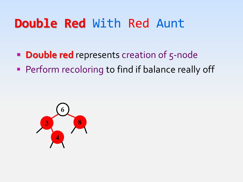 Double Red Double Red With Red Aunt  Double red  Double red represents creation of 5-node  Perform recoloring to find if balance really off 6 8 3 4