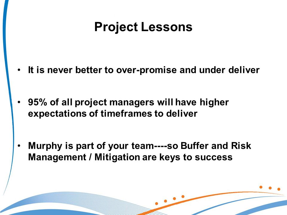 Project Lessons It is never better to over-promise and under deliver 95% of all project managers will have higher expectations of timeframes to deliver Murphy is part of your team----so Buffer and Risk Management / Mitigation are keys to success