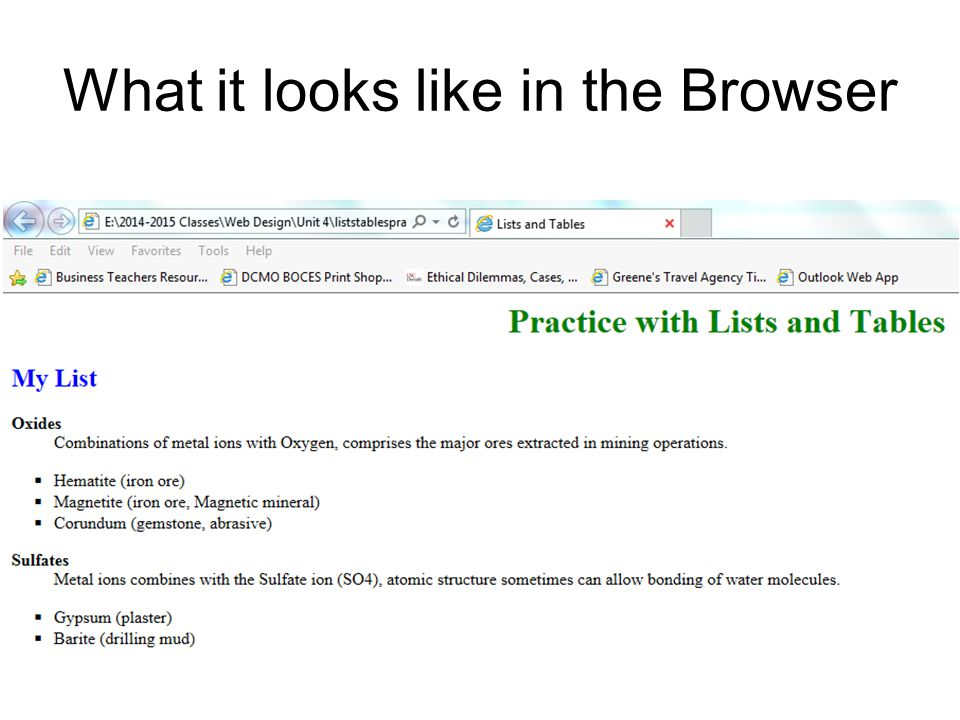 What it looks like in the Browser