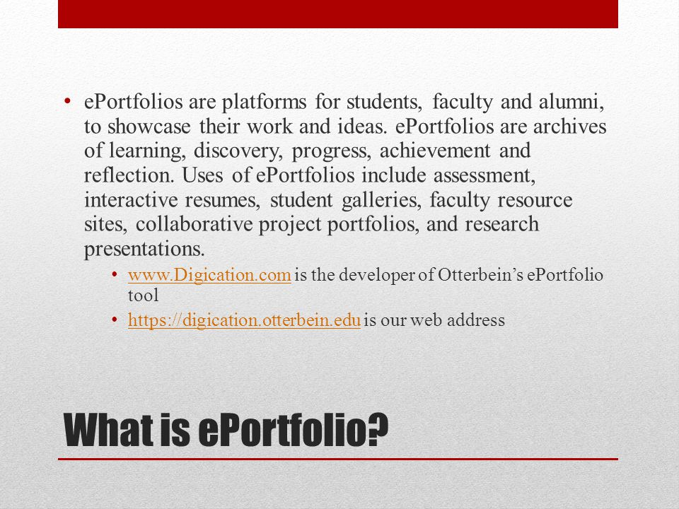 What is ePortfolio.