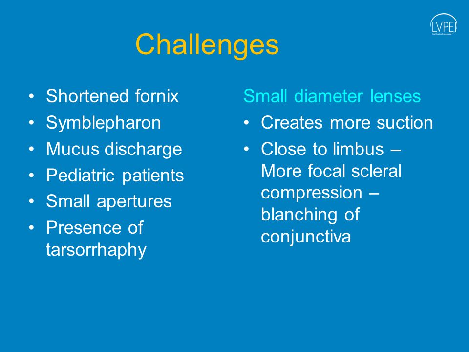 Challenges Shortened fornix Symblepharon Mucus discharge Pediatric patients Small apertures Presence of tarsorrhaphy Small diameter lenses Creates more suction Close to limbus – More focal scleral compression – blanching of conjunctiva