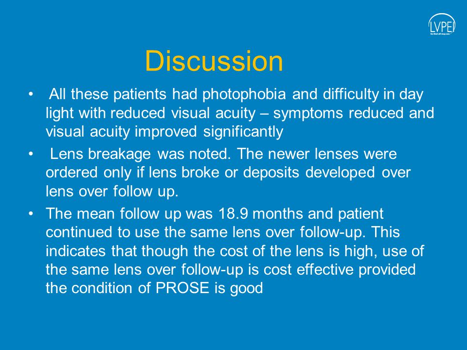Discussion All these patients had photophobia and difficulty in day light with reduced visual acuity – symptoms reduced and visual acuity improved significantly Lens breakage was noted.