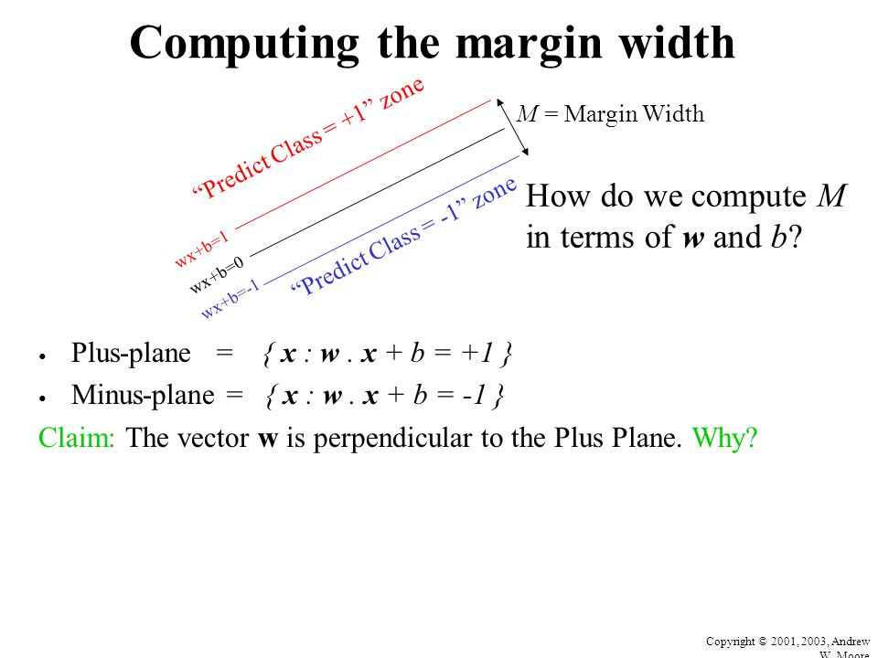Copyright © 2001, 2003, Andrew W. Moore Computing the margin width Plus-plane = { x : w. x + b = +1 } Minus-plane = { x : w. x + b = -1 } Claim: The v
